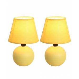 All The Rages Simple Designs Mini Ceramic Globe Table Lamp 2 Pack Set  - Yellow