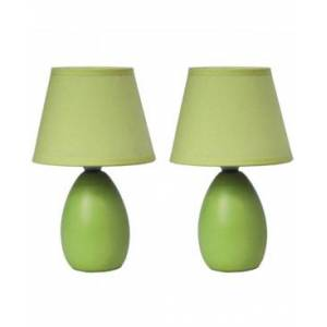 All The Rages Simple Designs Mini Egg Oval Ceramic Table Lamp 2 Pack Set  - Green