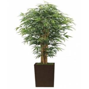 """Vintage Home 84"""" Tall Silk Bamboo Tree Artificial Lifelike Faux W/ Brown and Bronze Wood Planter  - Green"""