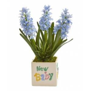 """Nearly Natural 16in. Hyacinth and Agave Artificial Plant in """"New Baby"""" Planter  - Green/blue"""