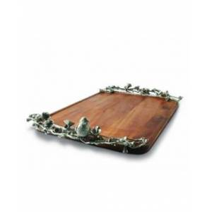 Vagabond House Wood Serving Tray with Pewter Song Bird Handles  - silver