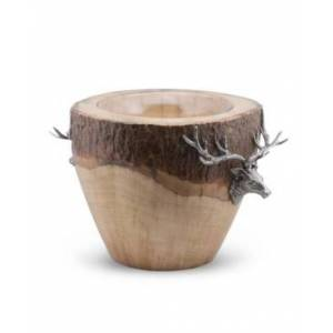Vagabond House Natural Log Ice, Wine Bucket with Pewter Elk Head Accent  - silver