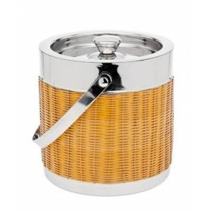 Godinger Pvc & Rattan Ice Bucket  - Gold