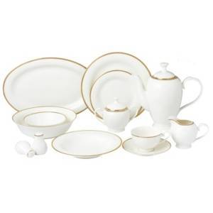 Lorren Home Trends Daisy 57-pc Dinnerware Set, Service for 8  - Gold