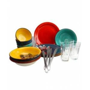 Laurie Gates Color Speckle 28 Piece Mix and Match Dinnerware Combo Set  - Multi