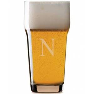 Lenox Tuscany Monogram Barware Pint Beer Glasses, Set of 4, Block Letters  - N