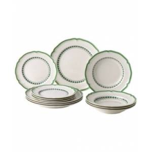 Villeroy & Boch French Garden Green Line 12-Pc. Set, Created for Macy's  - White With Green Rim