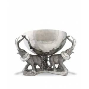 Vagabond House 3 Pewter Elephant Trio Stainless Punch, Ice Bowl  - silver