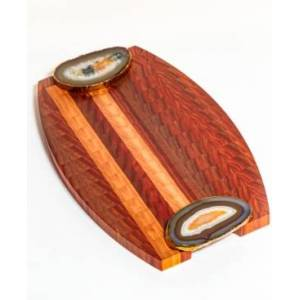 Brasil Home Decor Serving Tray with Agate Handles  - Wood