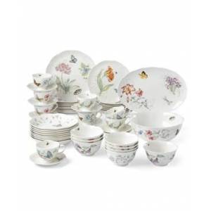 Lenox Butterfly Meadow 50-pc Dinnerware Set, Created for Macy's, Service for 8  - White Body W/multicolor Floral & Botanical Design