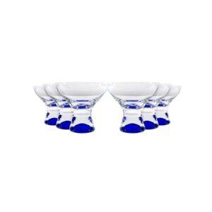 Red Vanilla Samba Colors Martini Dessert Glass 11 Oz, Set of 6  - Blue