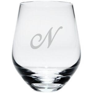 Lenox Tuscany Monogram Stemless White Wine Glasses, Set of 4, Script Letters  - M