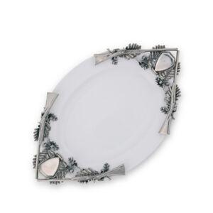 Vagabond House Stoneware Tray with Pewter Metal Hunt Shotgun Handles  - silver