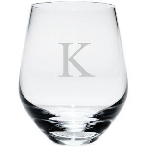 Lenox Tuscany Monogram Stemless White Wine Glasses, Set of 4, Block Letters  - A