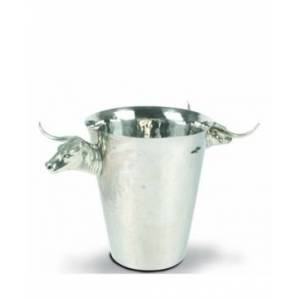 Vagabond House Steel Ice, Wine Bucket with Long Horn Steer Handles  - silver