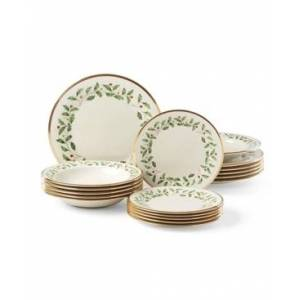 Lenox Holiday 18 Piece Dinnerware Set, Created for Macy's  - Ivory Body With Red & Green Ivy And Holly Design