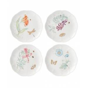 Lenox Butterfly Meadow Gold - 20th Anniversary Accent Plate Set/4 Assorted  - White