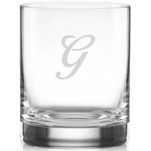 Lenox Tuscany Monogram Double Old Fashioned Glasses, Set of 4, Script Letters