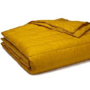 Epoch Hometex Inc Puff Packable Down Alternative Indoor/Outdoor Water Resistant Blanket with Extra Strong Nylon Cover Bedding  - Gold