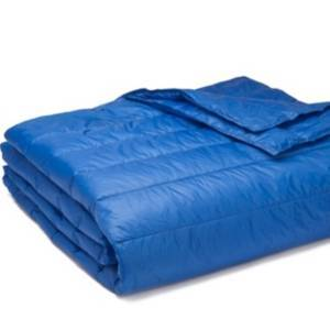 Epoch Hometex Inc Puff Packable Down Alternative Indoor/Outdoor Water Resistant Blanket with Extra Strong Nylon Cover Bedding  - Blue