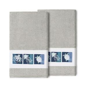 Linum Home 100% Turkish Cotton Ava 2-Pc. Embellished Bath Towel Set Bedding  - Light Gray