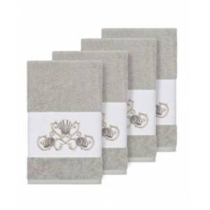Linum Home Bella 4-Pc. Embroidered Turkish Cotton Hand Towel Set Bedding  - Light Grey