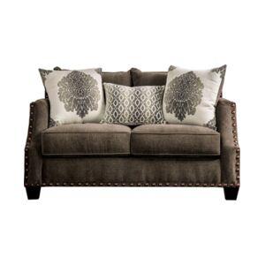 Furniture of America Desoto Upholstered Love Seat  - Espresso