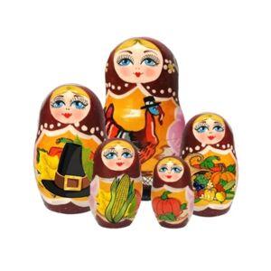 G.DeBrekht Thanksgiving 5 Piece Russian Matryoshka Wooden Nested Dolls Set  - Multi