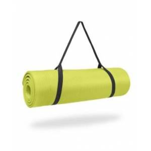"Pure Fitness 0.5"" Thick Nbr Exercise Mat with Strap  - Lime"