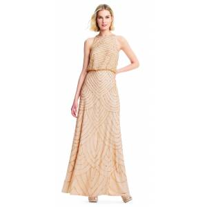 Adrianna Papell Art Deco Beaded Blouson Bridesmaid Dress With Halter Neckline, Champagne/Gold, Size: 16