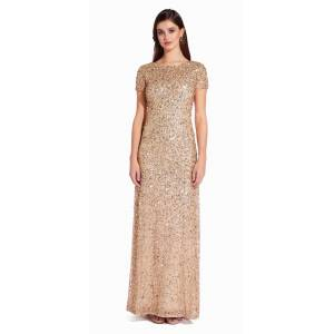 Adrianna Papell Scoop Back Sequin Gown, Champagne/Gold, Size: 16