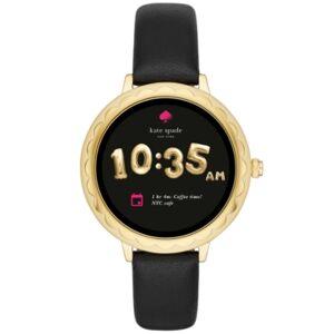 kate spade new york Women's Scallop Black Leather Strap Touchscreen Smart Watch 42mm