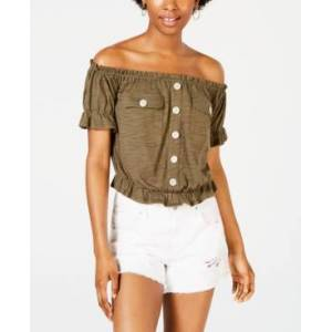 Planet Gold Juniors' Off-The-Shoulder Utility Top