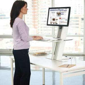 Humanscale QuickStand Workstation Large - Single Monitor / White