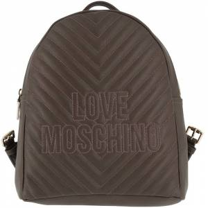 Moschino Love Moschino Grey Quilted Faux Leather Logo Backpack