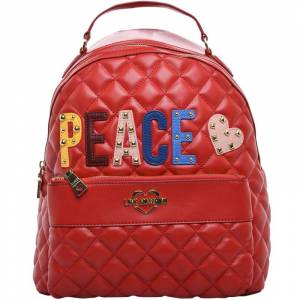 Moschino Love Moschino Red Quilted Faux Leather PEACE Backpack