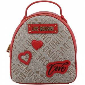 Moschino Love Moschino Two Tone Signature Fabric and Faux Leather Backpack
