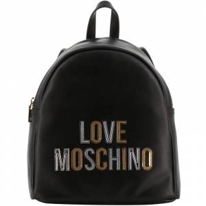 Moschino Love Moschino Black Faux Leather Gold and Silver applique Backpack