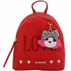 Moschino Love Moschino Red Faux Leather Love Applique Backpack