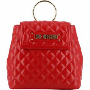 Moschino Love Moschino Red Quilted Faux Leather Ring Handle Backpack