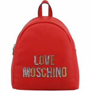 Moschino Love Moschino Red Faux Leather Applique Backpack