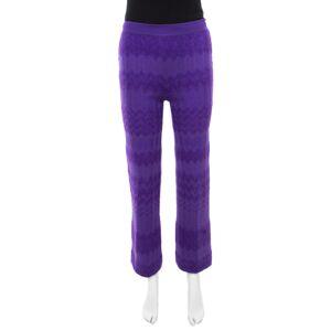 Missoni Purple Chevron Knit Elasticized Waist Wide Leg Pants S