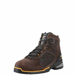 """Ariat Men's Rebar Flex 6"""" Waterproof Composite Toe Work Boots in Chocolate Brown Leather, size 13 by Ariat"""