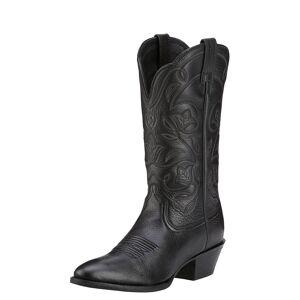 Ariat Women's Heritage R Toe Western Boots in Black Deertan, size 6 by Ariat