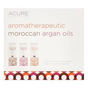 Acure Organics Aromatherapeutic Argan Oil Trio Set with Rose, Coconut & Citrus Ginger Argan Oil, 1 Fl Oz