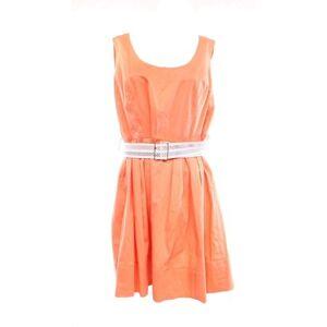 Calvin Klein NEW Peach Orange Women's 12 Belted Pleated Sheath Dress $119 #160
