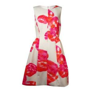 Calvin Klein Women's Sleeveless Pleated Floral Scuba Dress