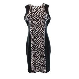Calvin Klein NEW Black Women's Size 6 Colorblock Printed Sheath Dress $134
