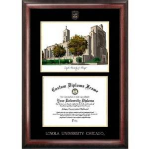 """Generic Loyola University Chicago 8.5"""" x 11"""" Gold Embossed Diploma Frame with Campus Images Lithograph"""