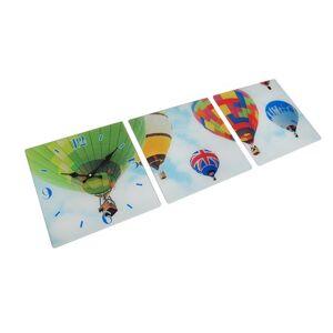 Zeckos 3 Panel Glass Wall Clock - Hot Air Balloon Design